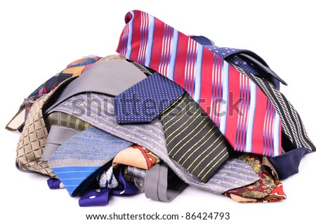 Set business ties, isolated white background - stock photo