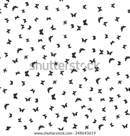 set butterflies, cicada isolated black silhouette. Seamless pattern on white background.