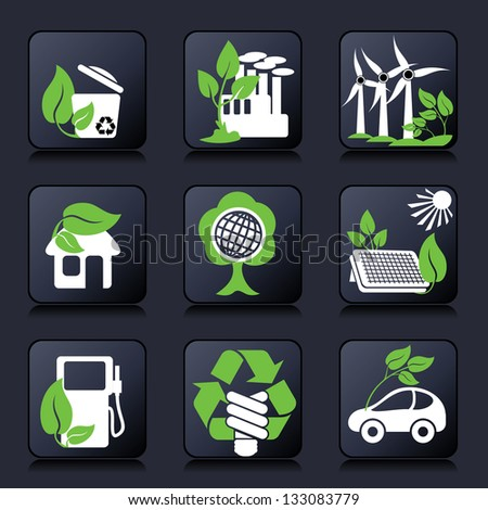 set buttons of environment protection and renewable sources of power - stock photo