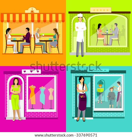 Set cafe restaurant shop hairdresser. Barbershop salon, woman clothing store, building house architecture, town facade, awning and boutique illustration in flat design. Raster version