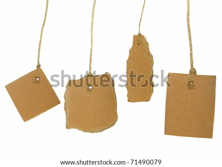 Set cardboard blank tag tied isolated on white background - stock photo