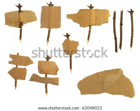 set Cardboard navigation arrow stickers isolated on white background - stock photo