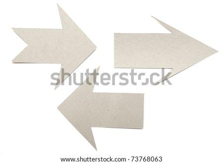 set cardboard navigation arrows on a white background - stock photo