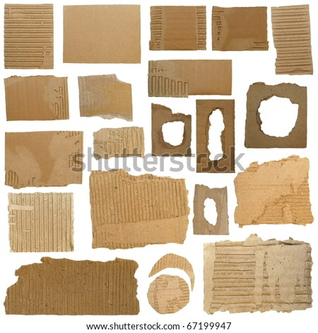 Set Cardboard Scraps and Hole ripped cardboard isolated on white background - stock photo