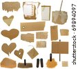 Set Cardboard Scraps, blank tag, paper notes, isolated on white background - stock photo