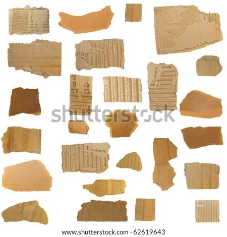 Set Cardboard Scraps isolated on white background - stock photo