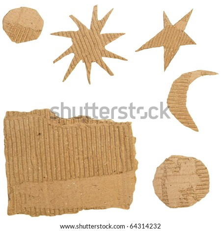 Set Cardboard Scraps isolated on white background (stars, moon, sun) - stock photo