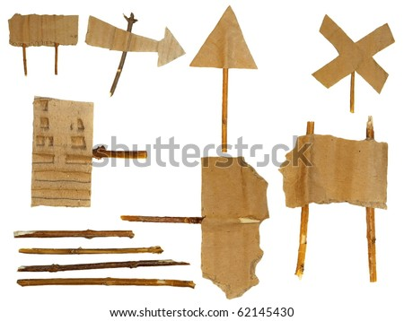 set Cardboard Scraps navigation arrow stickers isolated on white background - stock photo