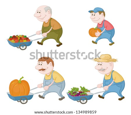 Set cartoon character farmers with a crop of vegetables and pumpkins. - stock photo