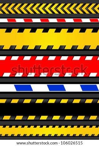 Set caution tapes, seamless strip - stock photo