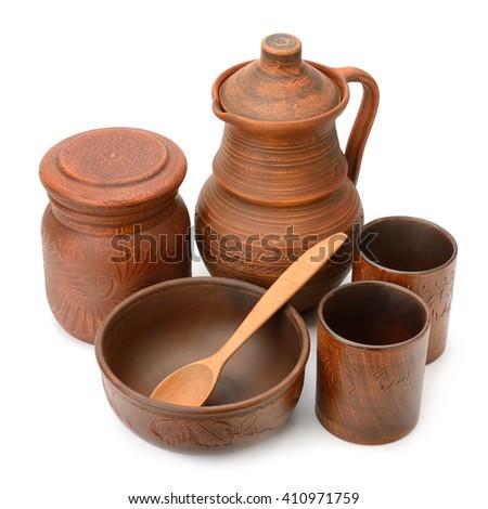 Set ceramic dishes isolated on white - stock photo