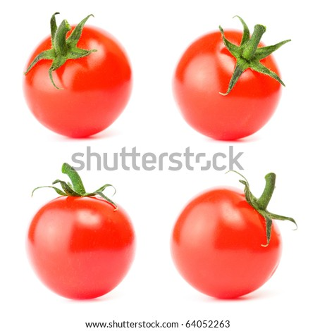 Set cherry tomato on white - stock photo