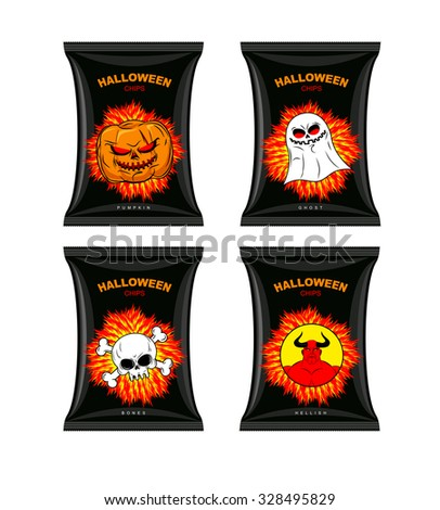 Set chips for Halloween. Terrible Food for holiday. Snacks with different tastes. Chips with pumpkin flavor. Chips with ghosts. Chips with a taste of  bones. Satanic hell chips.   - stock photo