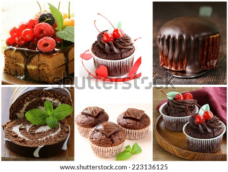 Set chocolate pastries - cake, muffin, cupcake and roll  - stock photo