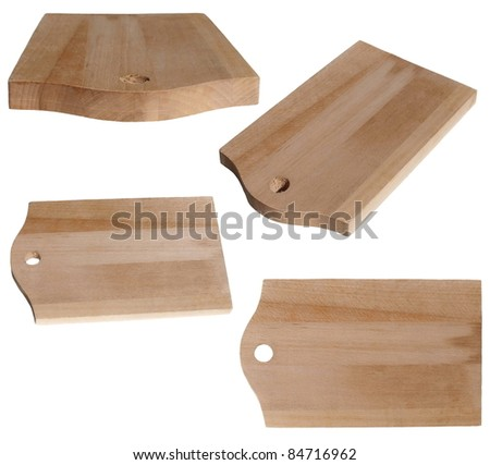 Set chopping board, isolated on white backgrounds, textures - stock photo