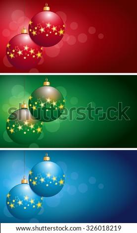 set christmas bulbs - stock photo