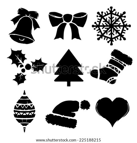 Set Christmas cartoon icons isolated on a white background