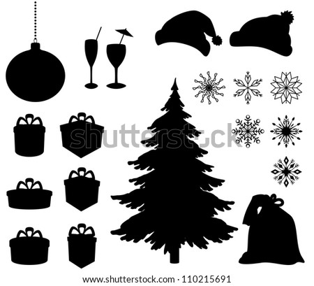 Set Christmas holiday objects. Black silhouette on white background