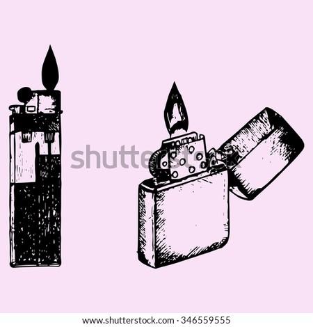 set cigar lighter, doodle style, sketch illustration, hand drawn, raster - stock photo