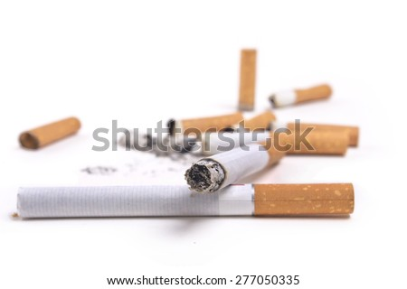 Set Cigarette butts,Cigarette isolated on white background - stock photo