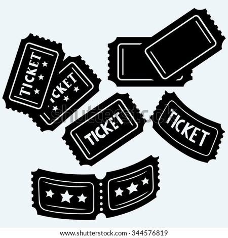 Set cinema tickets. Isolated on blue background. Raster silhouettes - stock photo
