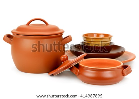 Set clay utensils isolated on white background
