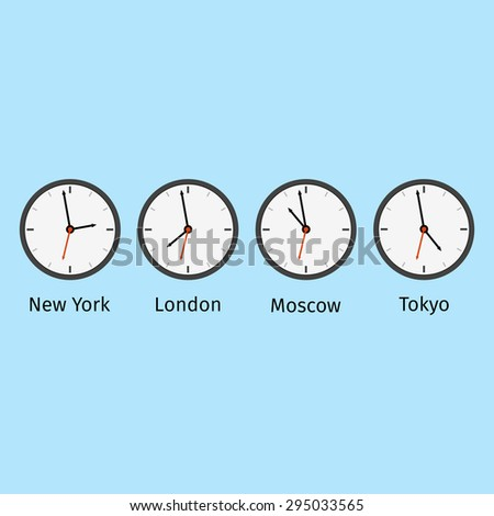 Set clocks with different time in different cities.  - stock photo