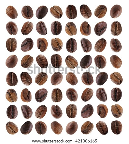 Set coffee beans isolated on white - stock photo