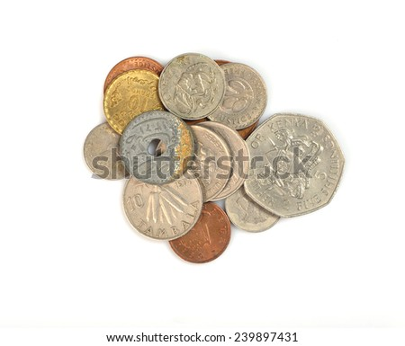 set coins African countries - stock photo