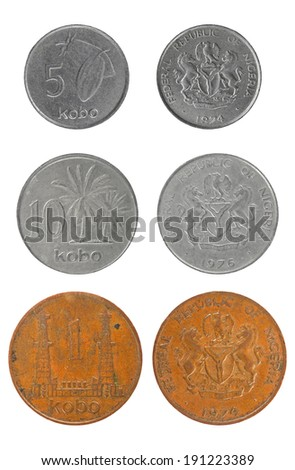 Set coins of the Republic of Nigeria - stock photo