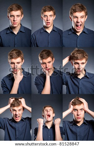 Set, collage group picture of many business man facial expressions. holding his head, stressed, headache, depressed, frustrated, angry, furious, scream. - stock photo