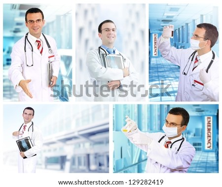 Set (collage) of young  doctor   in Hospital.