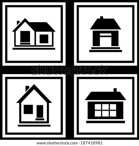 set collection house silhouette on white background icons - stock photo