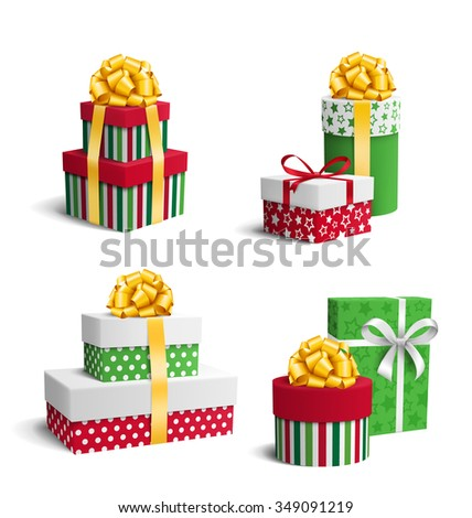 Set Collection of Colorful Celebration Christmas Gift Boxes with Bows Isolated on White Background - stock photo