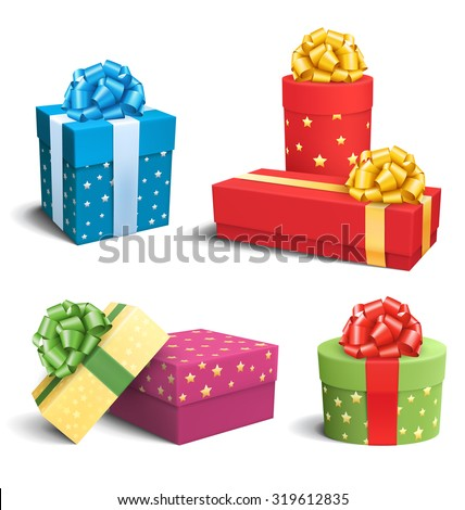 Set Collection of Colorful Celebration Gift Boxes with Bows Isolated on White Background - stock photo