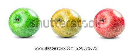 Set Collection of Fresh Green, Red, Yellow fruit apples isolated on white background. - stock photo