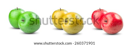 Set Collection of Fresh Green, Red, Yellow fruit apples isolated on white background.