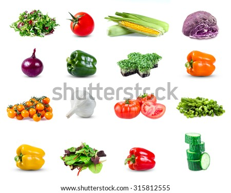 Set collection of  vegetables isolated on white background - stock photo