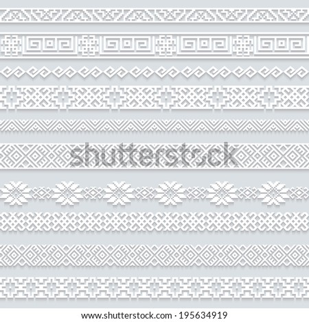 Set collection of white lace horizontal borders with shadow, ornamental paper lines isolated on grey background. Raster copy. - stock photo