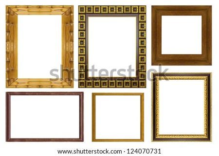 Set collection wood frame isolated on white background - stock photo
