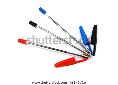 Set color ball pens isolated on white background