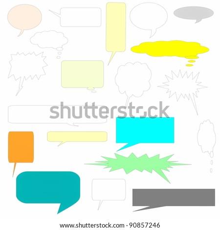 set color comic book text bubbles - stock photo