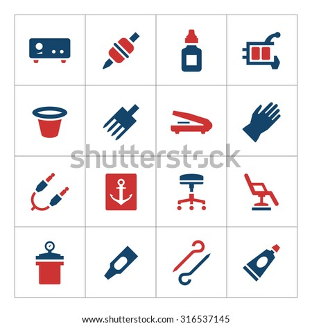 Set color icons of tattoo equipment and accessories isolated on white - stock photo