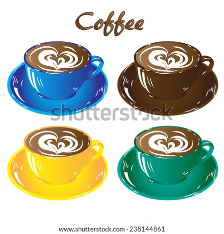 set colored cups of coffee chocolate brown blue yellow green,  isolated on white background icon raster illustration - stock photo