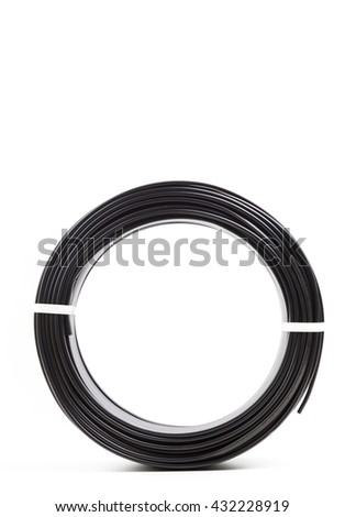 set colored electric cable on white background