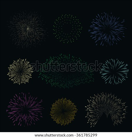 Set colorful fireworks on dark background. Night sky salute for festival in raster. Blue, yellow, green, pink and orange collection explosion.