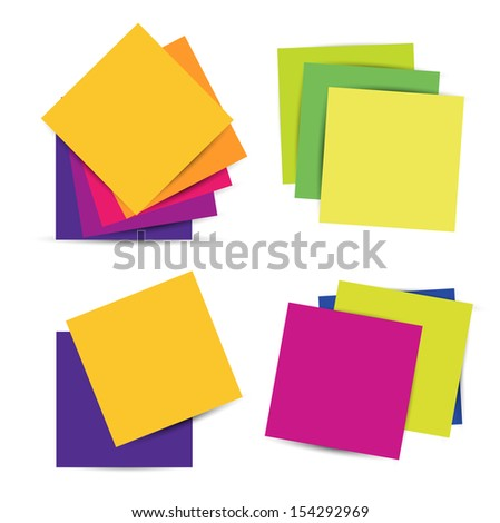 Set Colorful paper notes. Raster image. - stock photo
