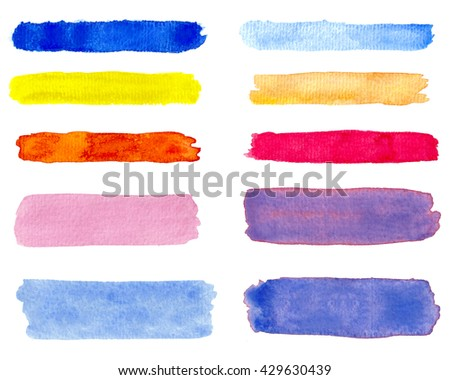 Set colorful watercolor brush strokes on the white background - stock photo