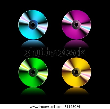 Set compact disks, all parts closed, EPS8 format, possibility to edit - stock photo