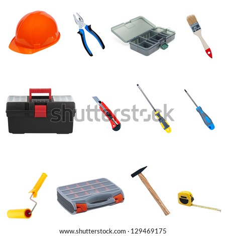 Set construction tools and equipment isolated on white background. - stock photo
